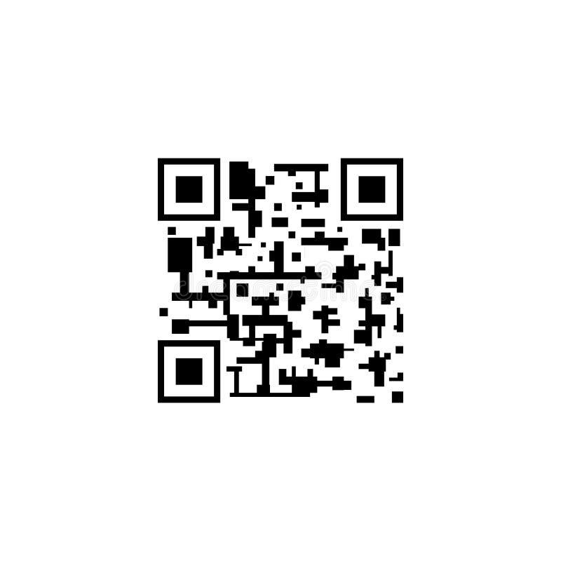 Code des Vektor-QR, abstraktes Kennzeichen, Ikone lokalisiert auf Weiß, Smartphone-Scannen-Konzept vektor abbildung