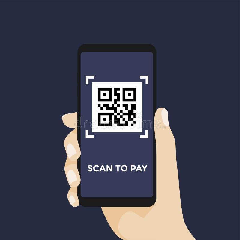 Code du balayage QR à payer avec le téléphone portable Code barres de balayage avec le téléphone illustration de vecteur
