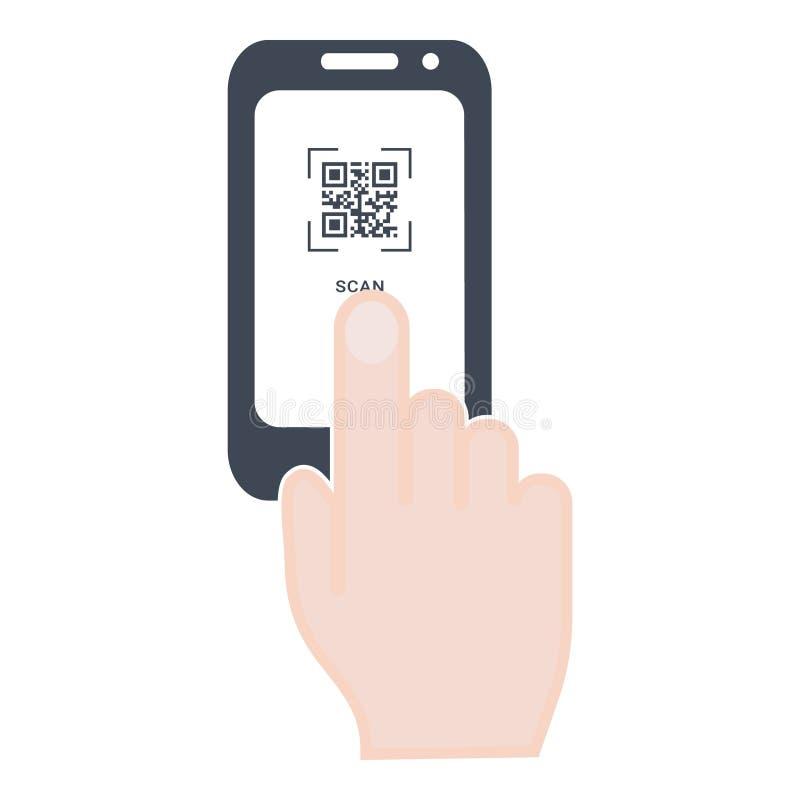 Code du balayage QR au t?l?phone portable Main avec le t?l?phone Électronique, technologie numérique, code barres Conception mode illustration de vecteur