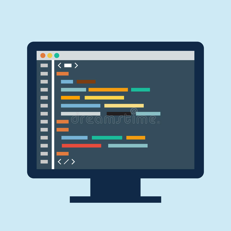 Code Editor On A Monitor Stock Vector Illustration Of