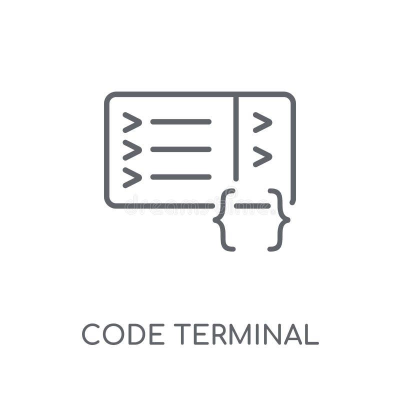 Code eind lineair pictogram Het moderne eindembleem van de overzichtscode bedriegt royalty-vrije illustratie