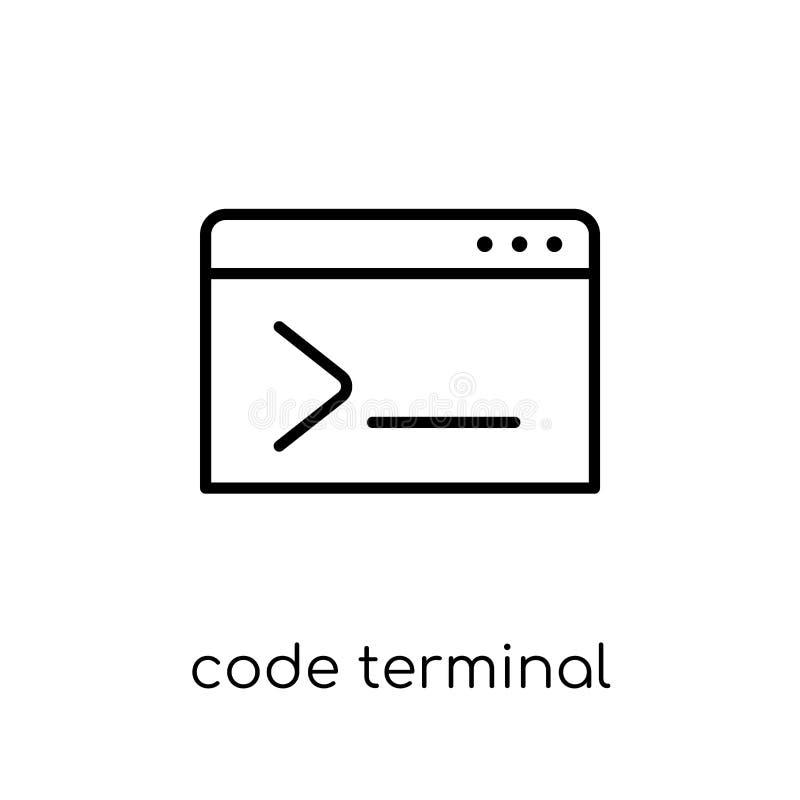 Code eindpictogram In moderne vlakke lineaire vectorcodetermin stock illustratie