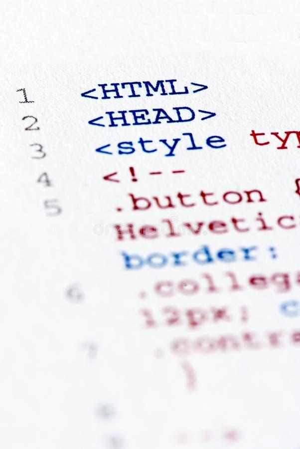 Code estampé de HTML d'Internet image stock