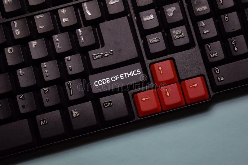 Code of Ethics write on keyboard isolated on laptop background royalty free stock photography