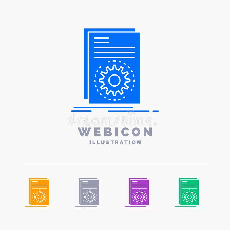 Code, executable, file, running, script 5 Color Glyph Web Icon Template isolated on white. Vector illustration. Vector EPS10 Abstract Template background stock illustration