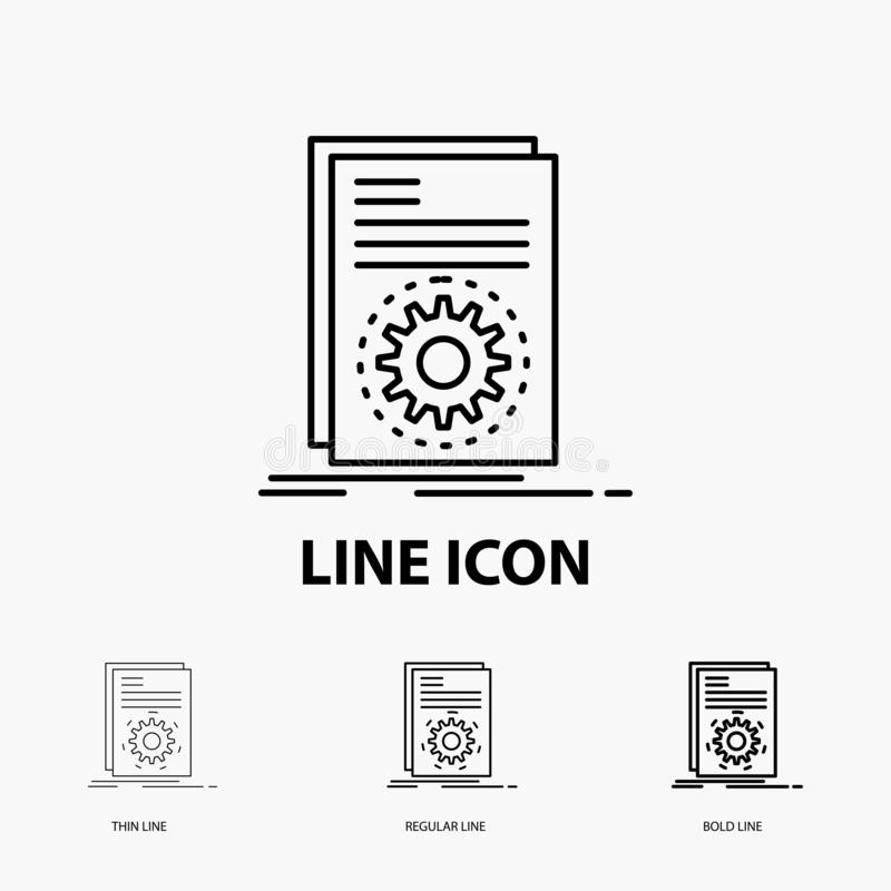 Code, executable, file, running, script Icon in Thin, Regular and Bold Line Style. Vector illustration. Vector EPS10 Abstract Template background stock illustration