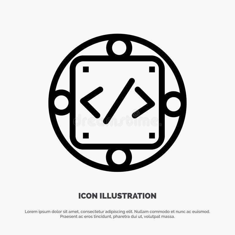 Code, Gewohnheit, Durchführung, Management, Produktserie Ikonen-Vektor vektor abbildung