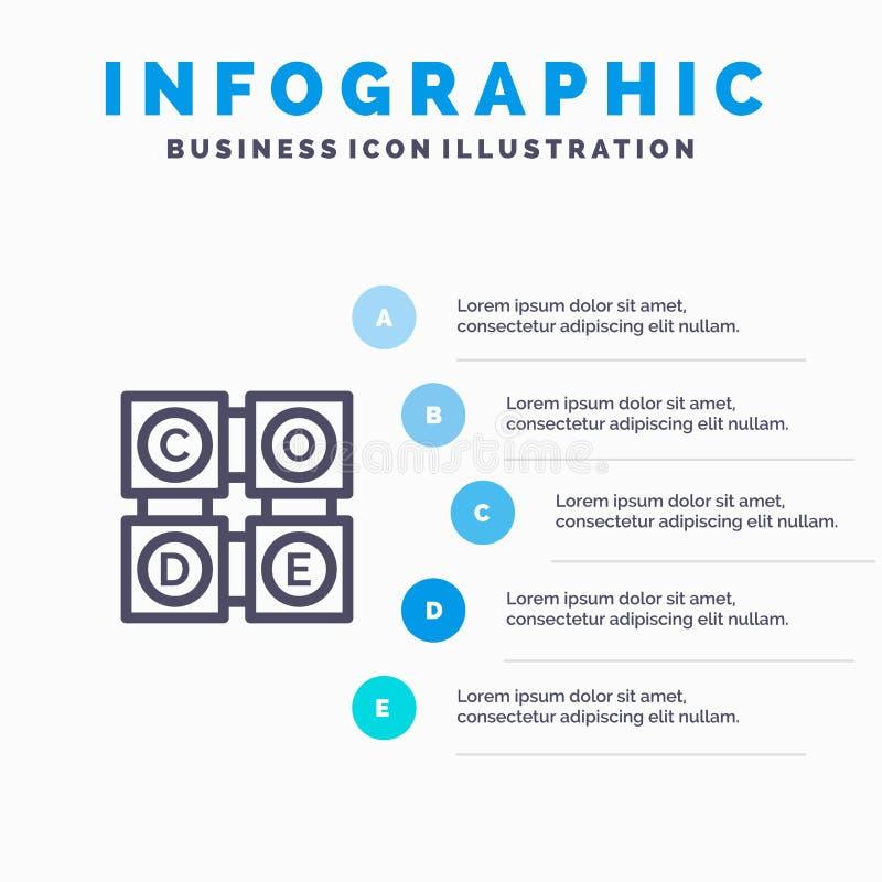 Code, het Leren die, Code, Malplaatje 5 van Onderwijs Blauw Infographics Stappen leren Het vectormalplaatje van het lijnpictogram royalty-vrije illustratie