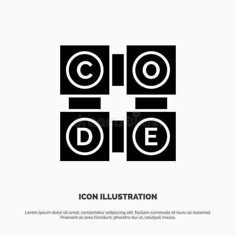 Code, het Leren die, Code, Pictogram van Onderwijs het Stevige Zwarte Glyph leren vector illustratie