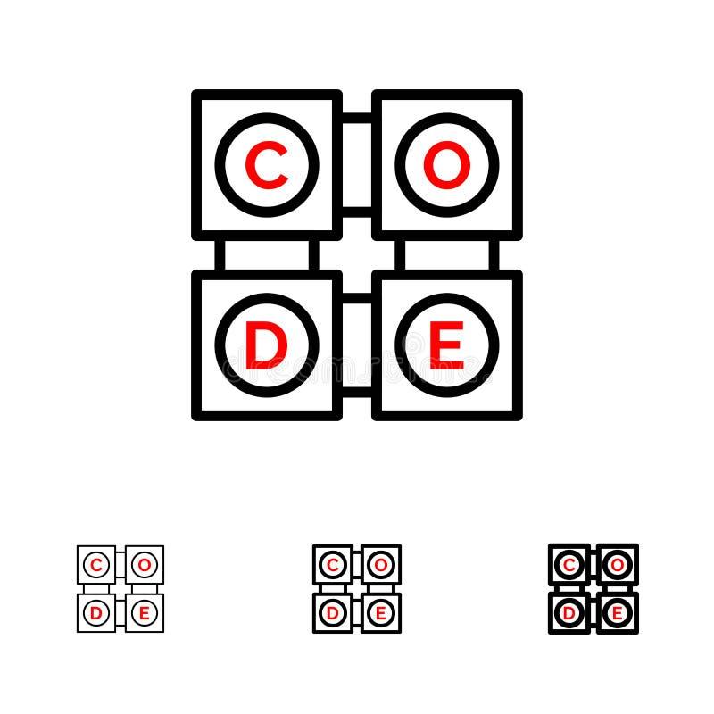 Code, het Leren, Code het Leren, het pictogramreeks van de Onderwijs Gewaagde en dunne zwarte lijn vector illustratie