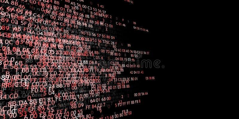 Code hexadécimal courant un écran d'ordinateur sur le fond blanc Chiffres bleus illustration stock