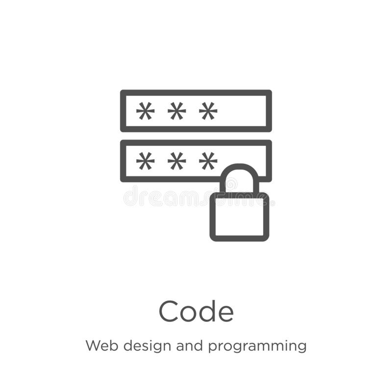 Code icon vector from web design and programming collection. Thin line code outline icon vector illustration. Outline, thin line. Code icon. Element of web royalty free illustration