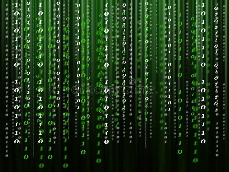 Code informatique binaire circulant sur le fond vert noir illustration libre de droits