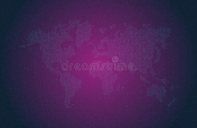Code informatique hexadécimal sous forme de silhouette de la carte du monde Symboles bleus sur le fond foncé illustration libre de droits