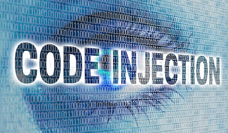 Code injection eye with matrix looks at viewer concept stock image