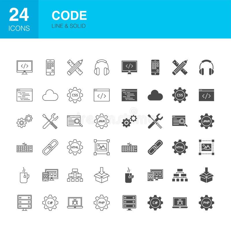 Code-Linie Netz Glyph-Ikonen lizenzfreie abbildung