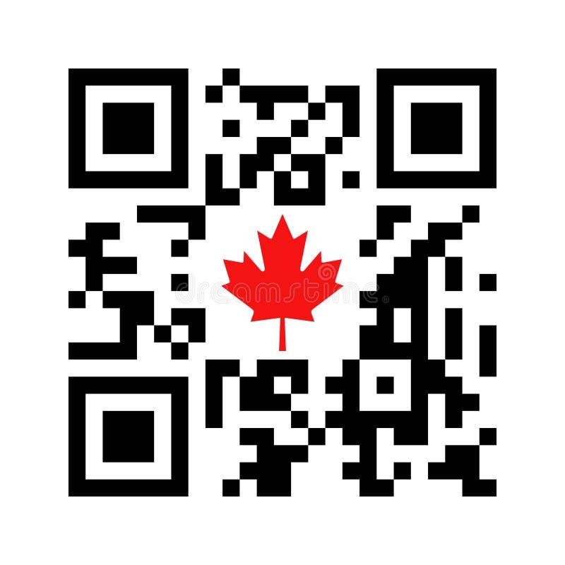 Code lisible de Smartphone QR avec l'icône canadienne de feuille d'érable illustration stock