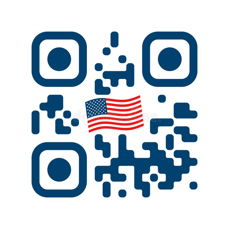 Code lisible de Smartphone QR avec l'icône de drapeau des Etats-Unis illustration de vecteur