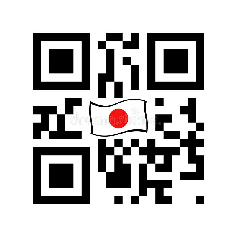 Code lisible de Smartphone QR avec l'icône de drapeau du Japon illustration de vecteur