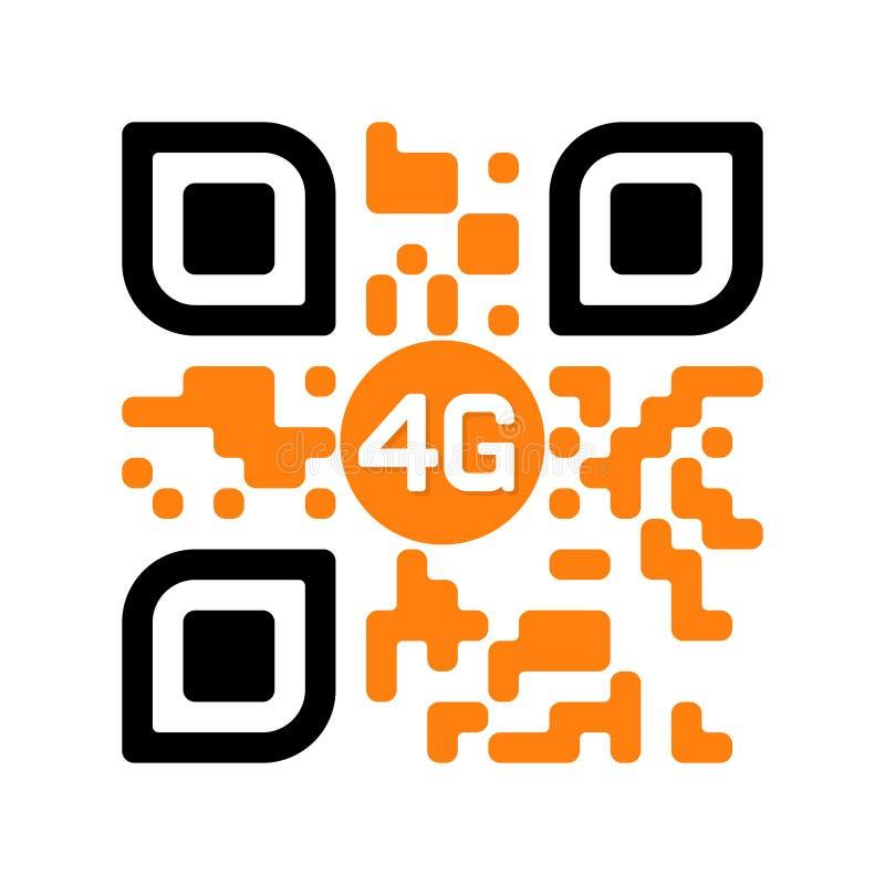 Code lisible de Smartphone QR avec l'icône 4G jaune illustration stock