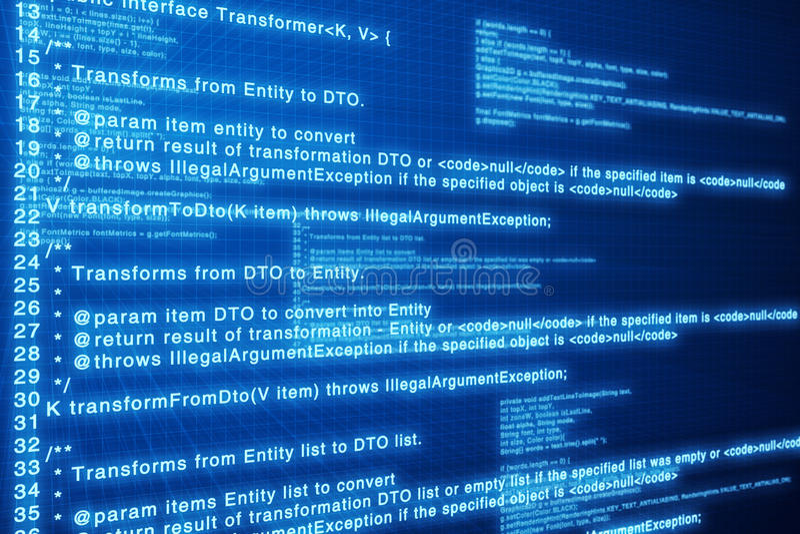 Code machine. Écran bleu profond. image stock