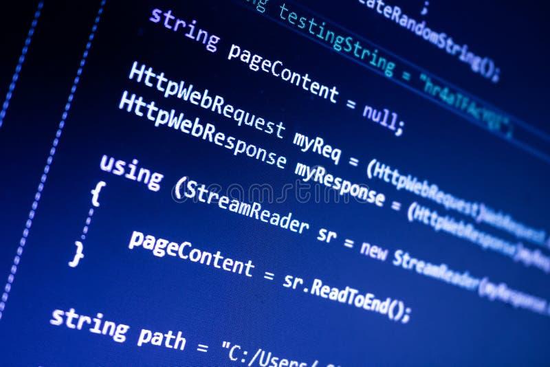 Code pointu de C sur un écran image libre de droits