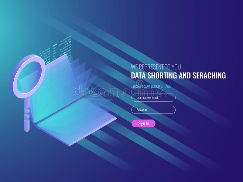 Code repository concept, electronic catalog, data researching, seo optimization, serach engine, magnifying glass with stock illustration