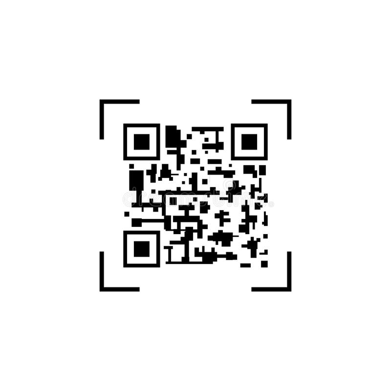 Code-Schablone des Vektor-QR, abstraktes Kennzeichen, schwarze Ikone lokalisiert auf weißem Hintergrund, Smartphone-Ikone vektor abbildung