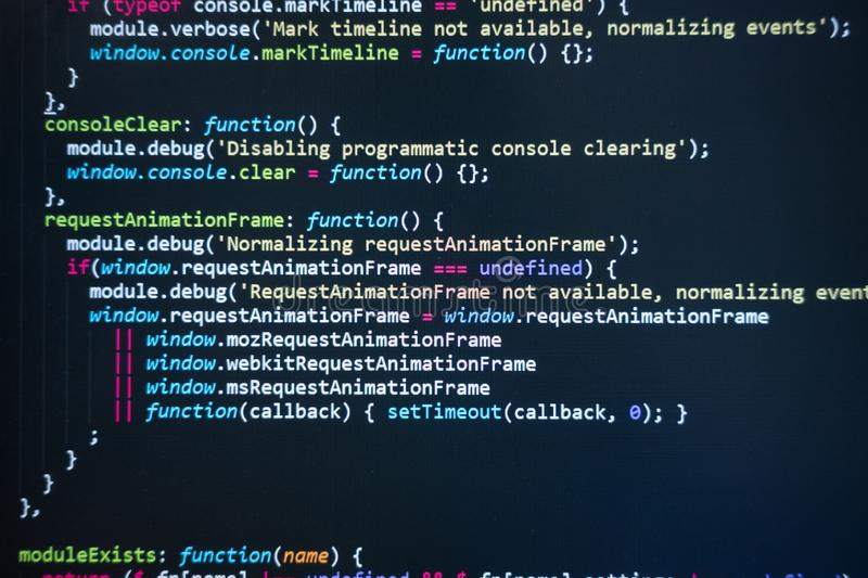 Code on screen royalty free stock photography