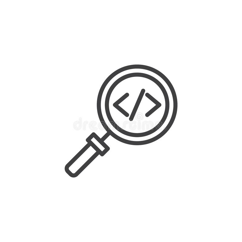Code search outline icon stock illustration