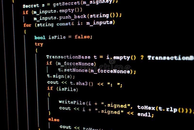 Code source d'Ethereum, de cryptocurrency et de système décentralisé photo stock