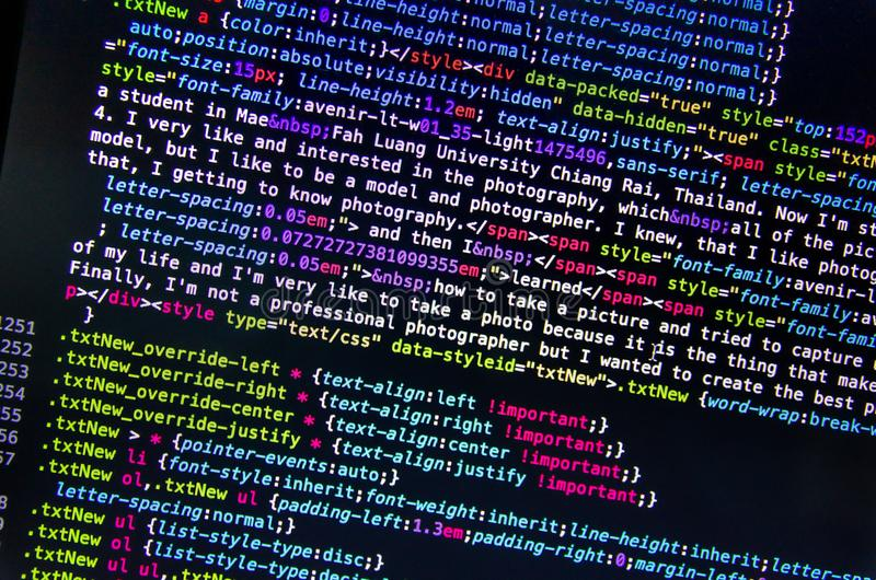 Code source et papier peint de bureau par langage de programmation avec le codi photographie stock
