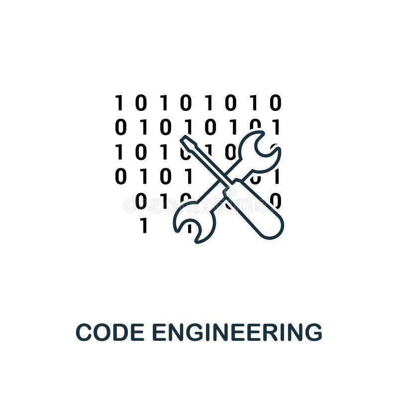 Code-Technikentwurfsikone Dünne Linie Art von der großen Datenikonensammlung Perfekter einfacher Elementcode des Pixels vektor abbildung