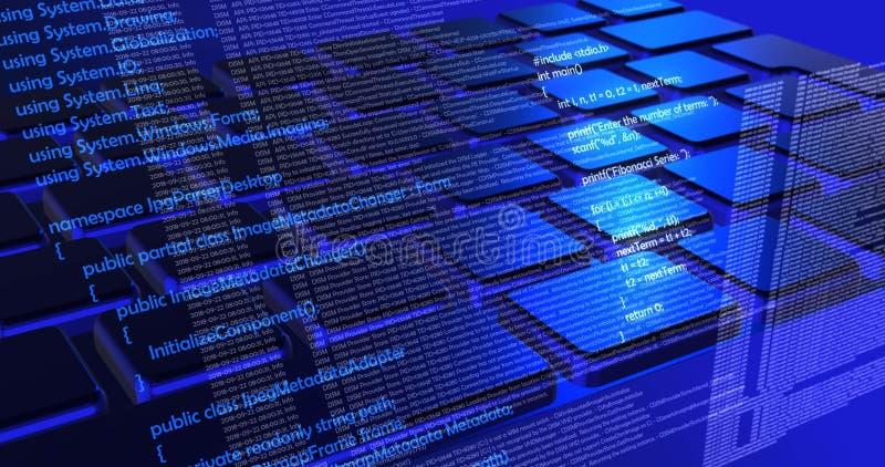 Code toekomstige technologie, de blauwe achtergrond van het cyberconcept