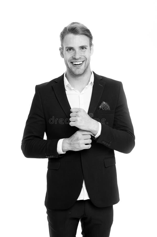 Code vestimentaire professionnel Équipez le puits heureux toiletté dans le costume formel, fond blanc d'isolement Concept masculi image stock