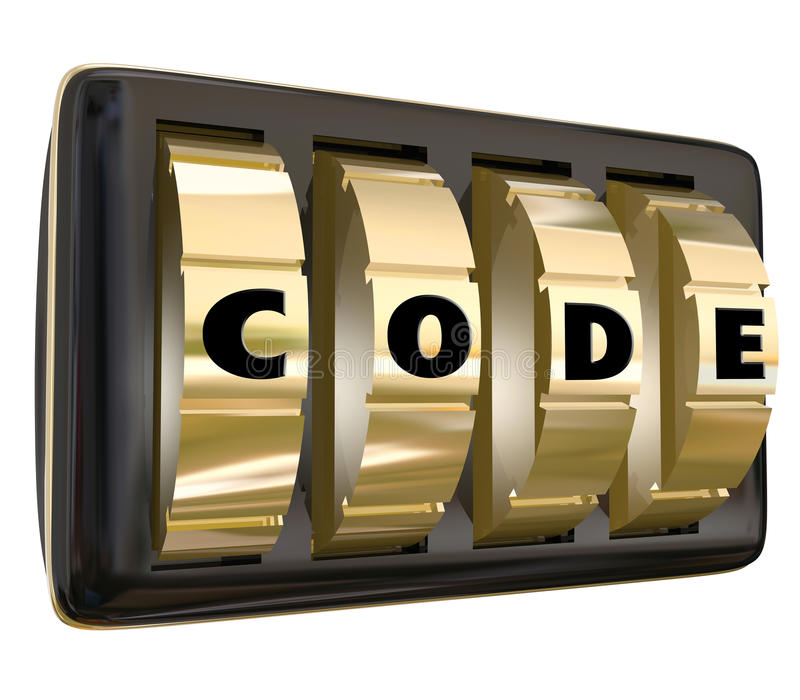 Code Word Lock Dials Secret Classified Informatoin Password Access. Code word in letters on a set of dials on a lock to illustrate confidential, restricted royalty free illustration
