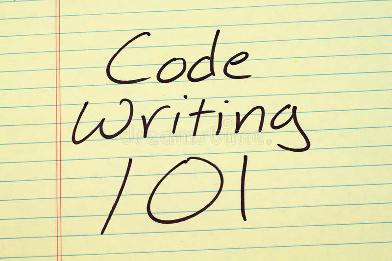 Code Writing 101 On A Yellow Legal Pad stock photography