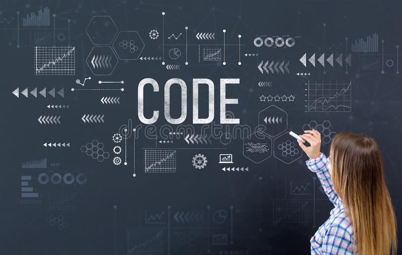 Code with young woman royalty free stock image