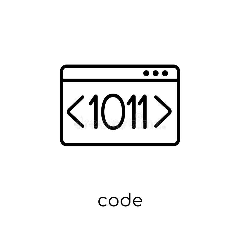 Codepictogram In modern vlak lineair vectorcodepictogram op witte B stock illustratie