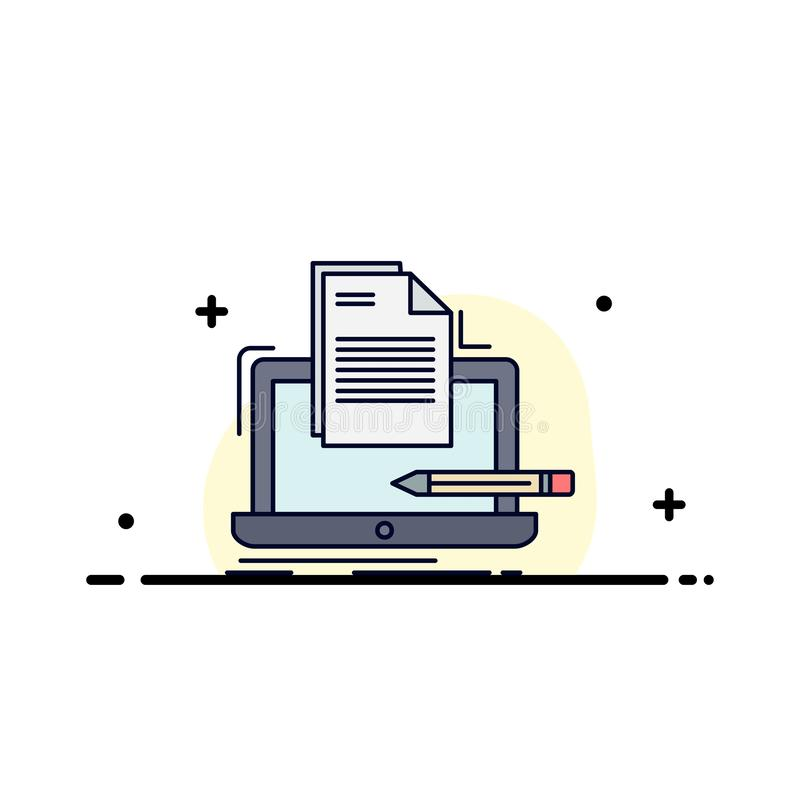 Coder, coding, computer, list, paper Flat Color Icon Vector royalty free illustration