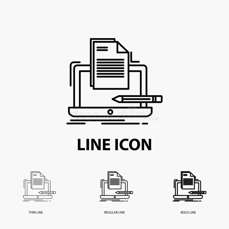 Coder, coding, computer, list, paper Icon in Thin, Regular and Bold Line Style. Vector illustration vector illustration