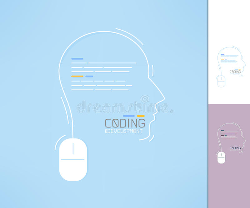 Coder and developer profile. Programmer silhouette. Coding development concept vector illustration