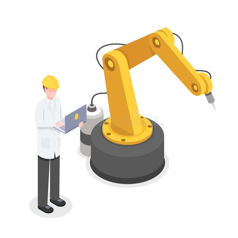 Coder, programmer controlling robotic arm manually. Robotics, cybernetics researcher developing technology isometric royalty free illustration