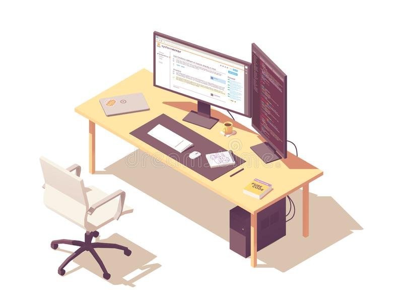 Vector isometric programmer workplace royalty free illustration
