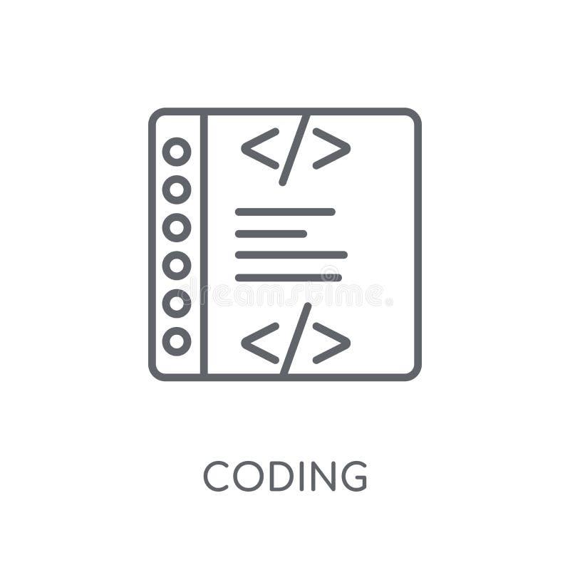Coderend lineair pictogram Modern het embleemconcept van de overzichtscodage op wit vector illustratie