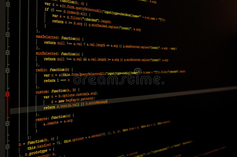 Codes on computer screen royalty free stock image