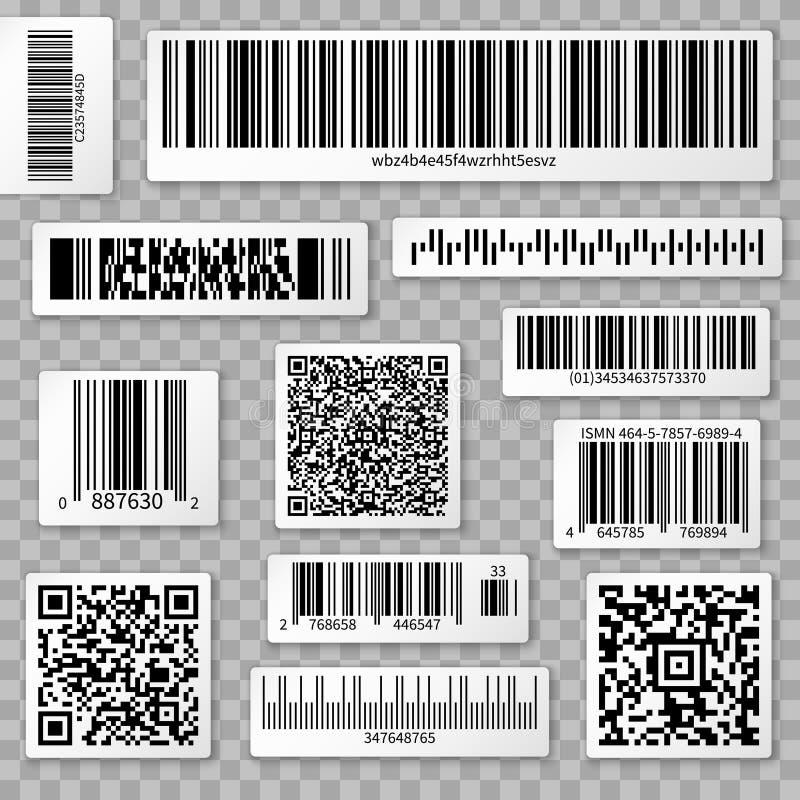 Codes de QR, barre et labels d'emballage sur le fond transparent illustration de vecteur