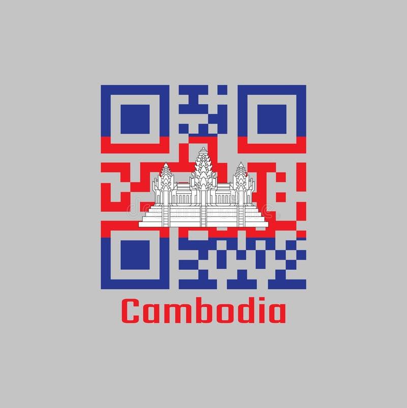Codes de QR la couleur du drapeau cambodgien couleur rouge et blanche bleue avec la ligne noire d'Angkor Vat illustration libre de droits
