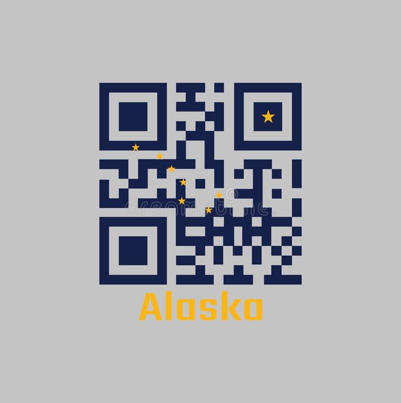 """Codes de QR la couleur du drapeau de l'Alaska Les états de l'Amérique Huit étoiles d'or, sous forme de """"grand huit """"sur un bleu illustration stock"""