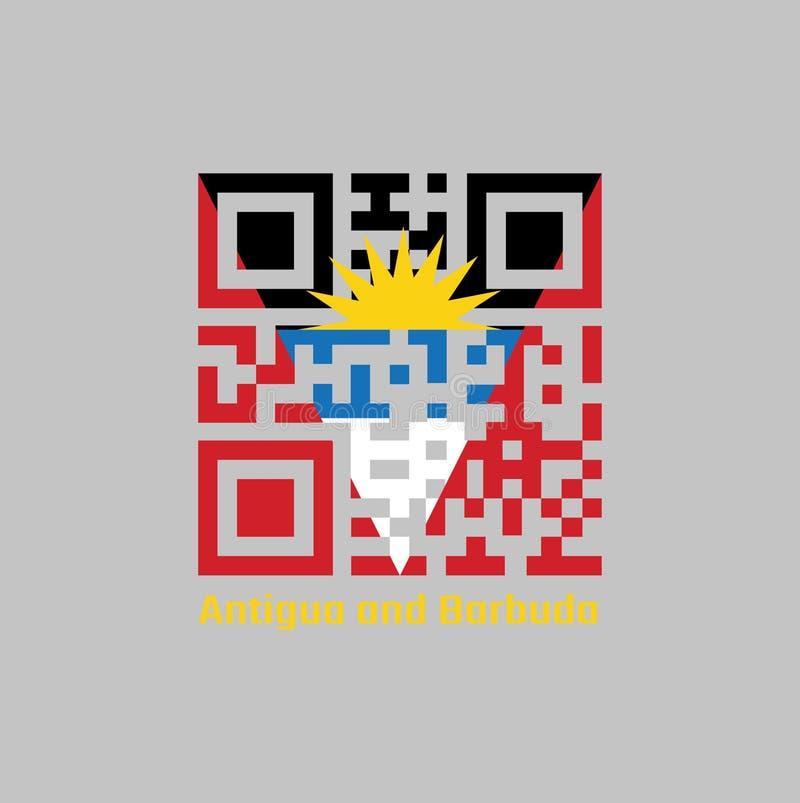 Codes de QR la couleur du drapeau de l'Antigua-et-Barbuda Un tricolore horizontal de noir, de bleu et de blanc, avec deux triangl illustration de vecteur